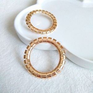 Round Gold Plated Big Stud Earrings